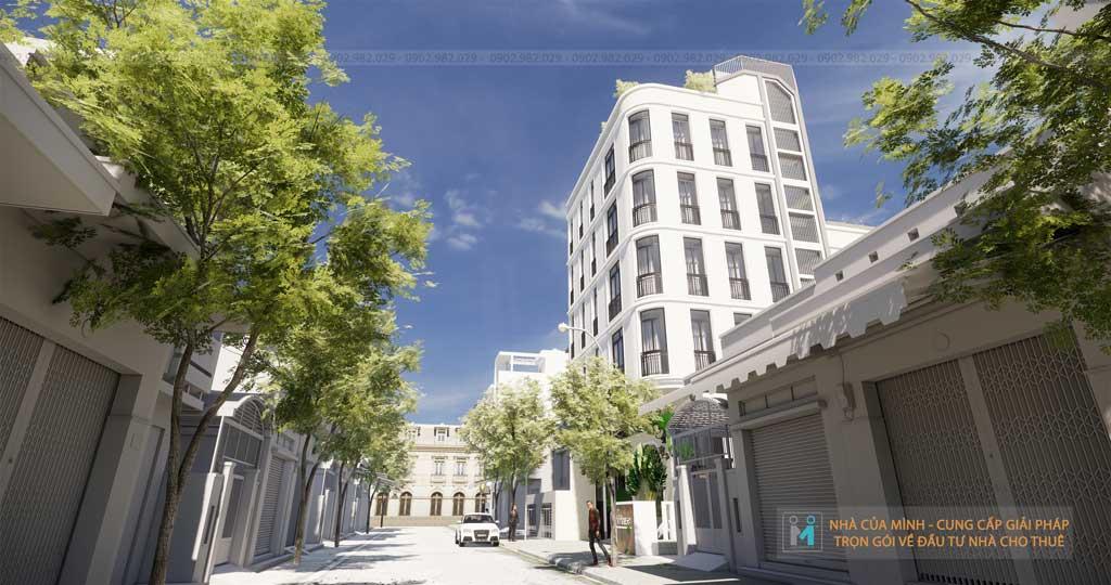 Mặt tiên tòa nhà căn hộ dịch vụ vừa ở vừa cho thuê Bình Thạnh